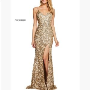 Sherri Hill style #53449 gold gown